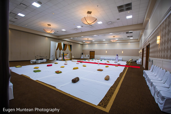 Indian sikh wedding ceremony venue decoration.