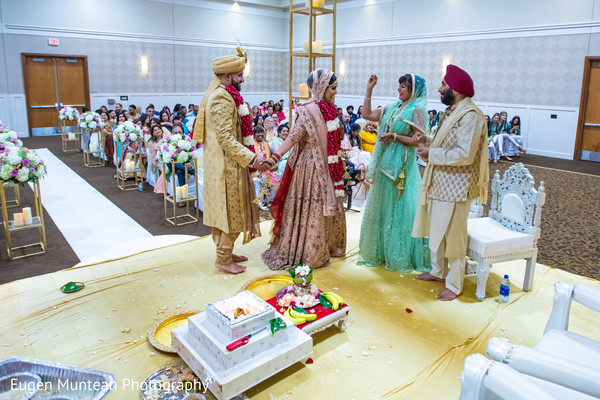 Indain bride and groom at traditional Indian wedding ceremony.
