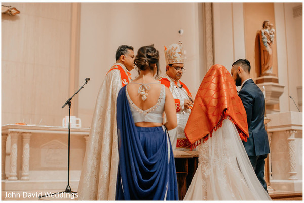 Indian bride and groom at christian wedding ceremony capture.
