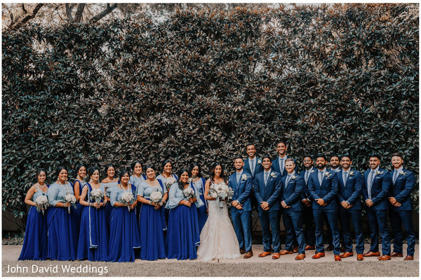 Outdoors Indian couple with bridesmaids and groomsmen.