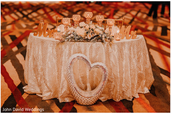 Indian bride and groom's reception table decorations.