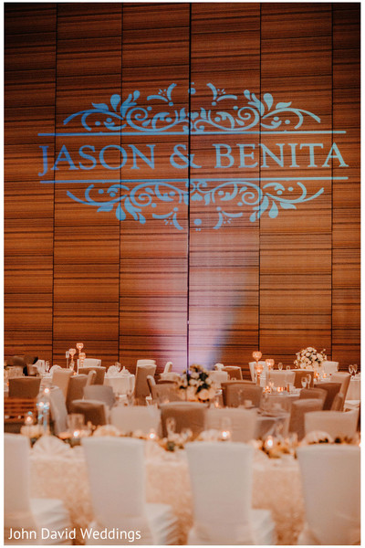 Personalized with names Indian wedding receptionlight decoration.