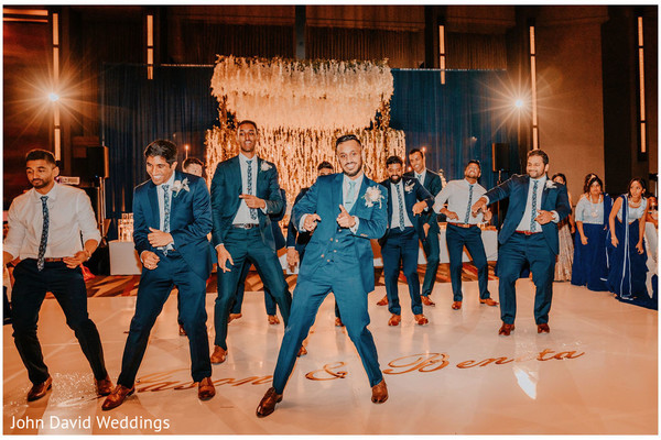 Indian groom with groomsmen choreography.