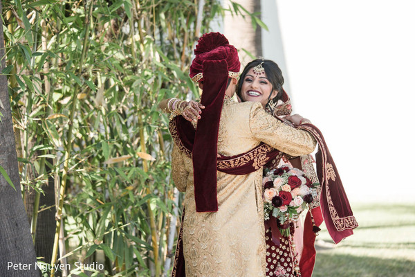 Indian couple first look meeting.
