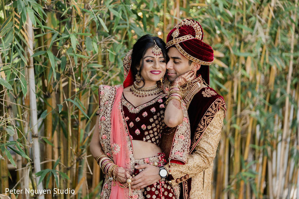 Indian couple first look photo session.