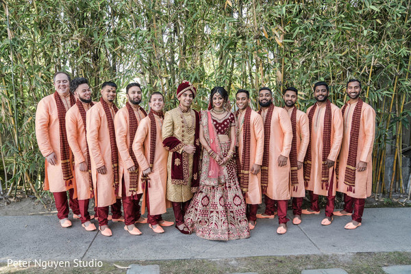 Indian coupel with groomsmen photo session.