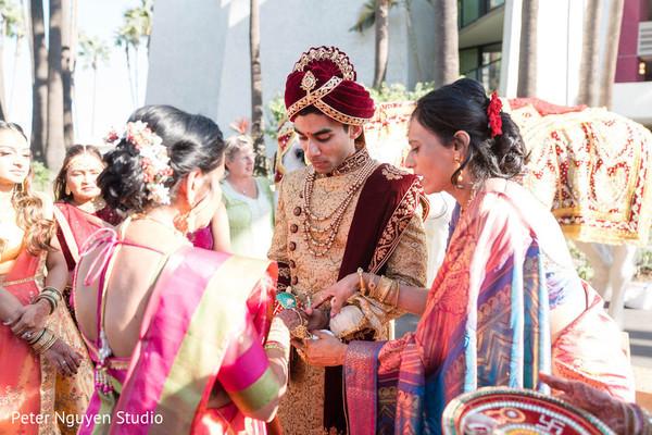 Indian groom at pre-wedding ritual.