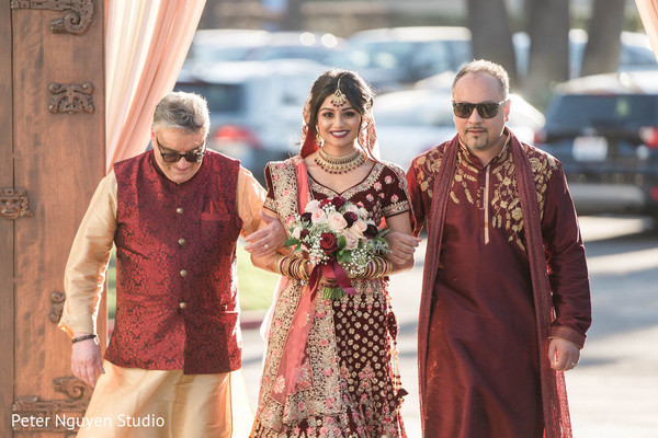 Maharani walking in to wedding ceremony.