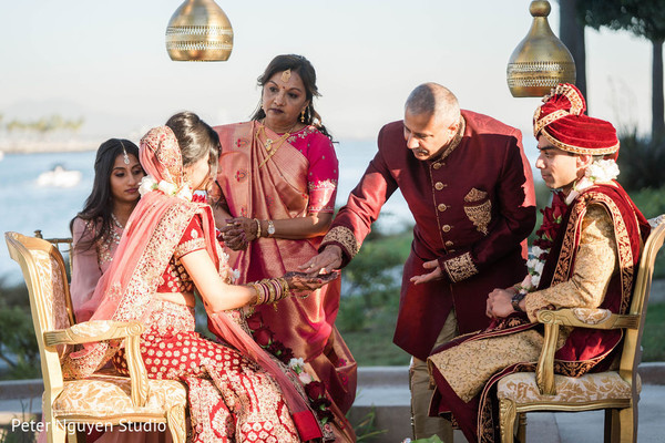Indian bride at wedding ceremony ritual capture.