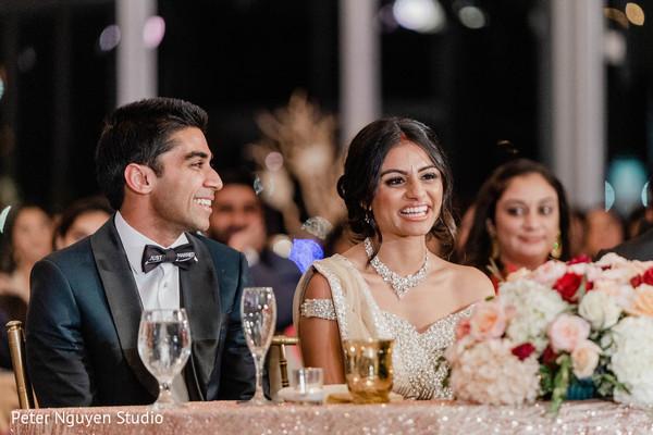 Indian newlyweds at main table
