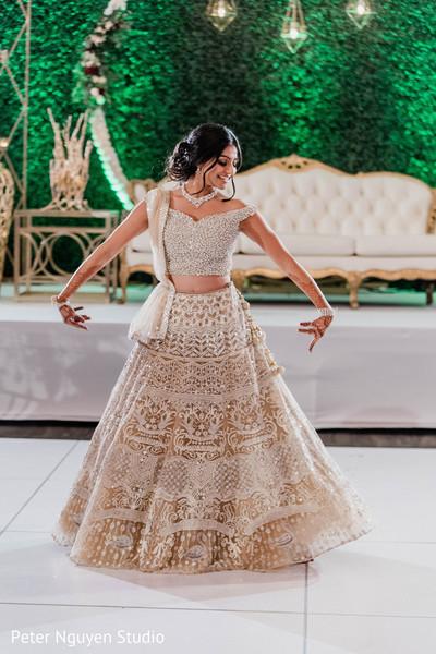 Indian bridal ivory lehenga reception fashion.