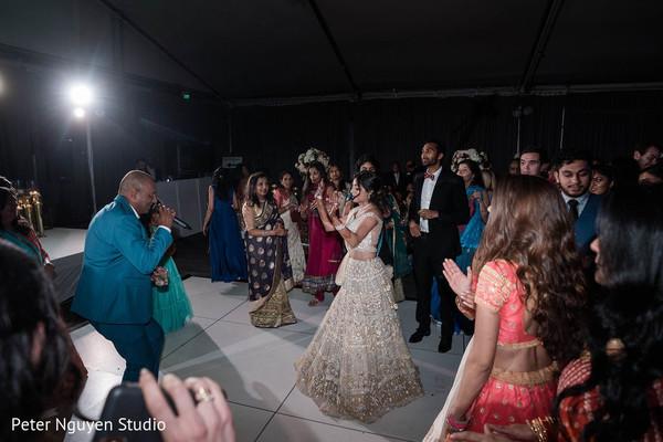 Indian bride wedding reception dance.