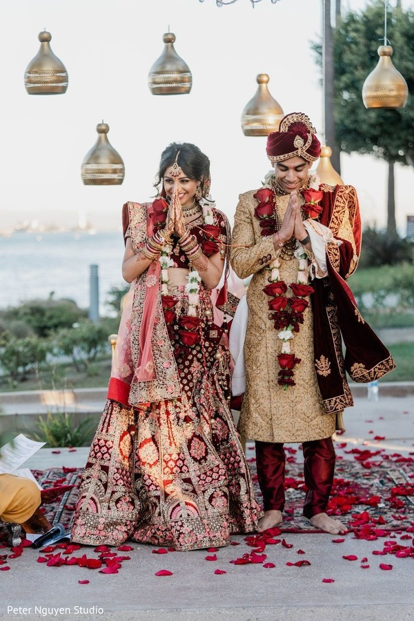 Indian couple during their wedding ceremony capture.