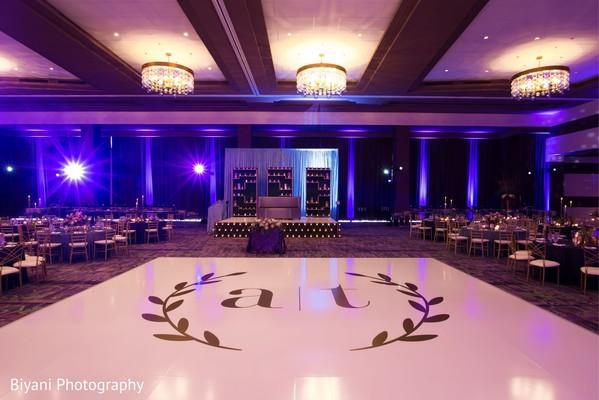 Indian wedding reception personalized dance floor.