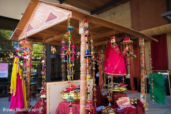 Sangeet decoration favors cart.