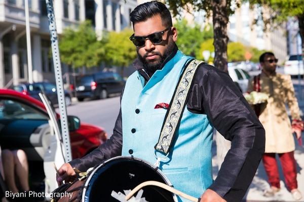 Indian pre-wedding celebration with Dhol player.