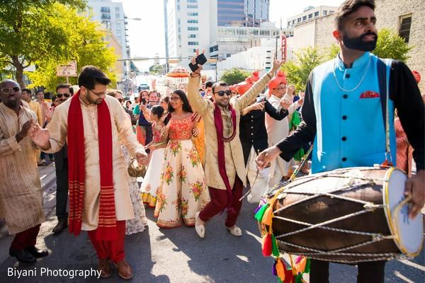 Indian pre-weeding baraat procession.