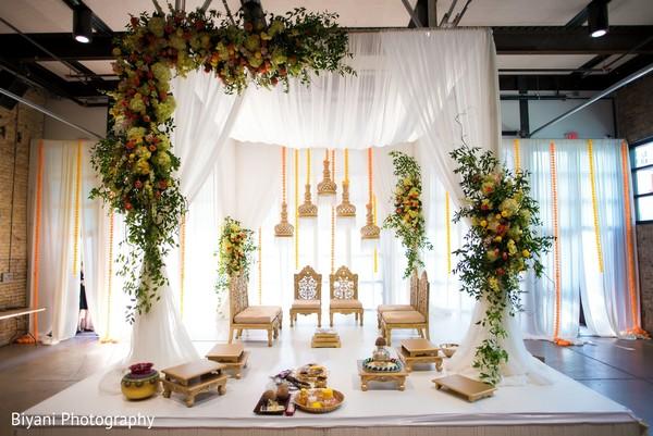 Indian wedding ceremony mandap decoration.