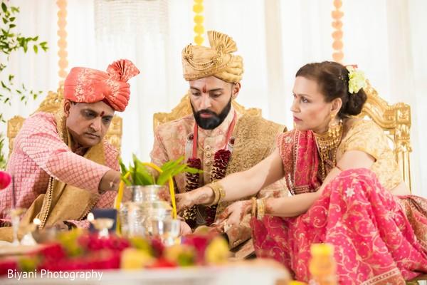 Indian grooms Var Aagman ritual.