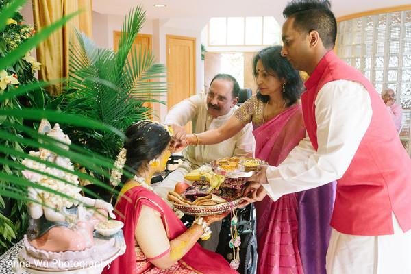Indian relatives at maharani's haldi celebration.