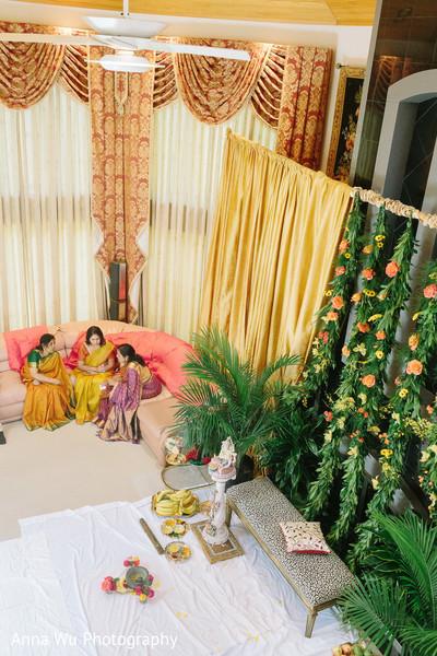 Indian haldi venue decorations.