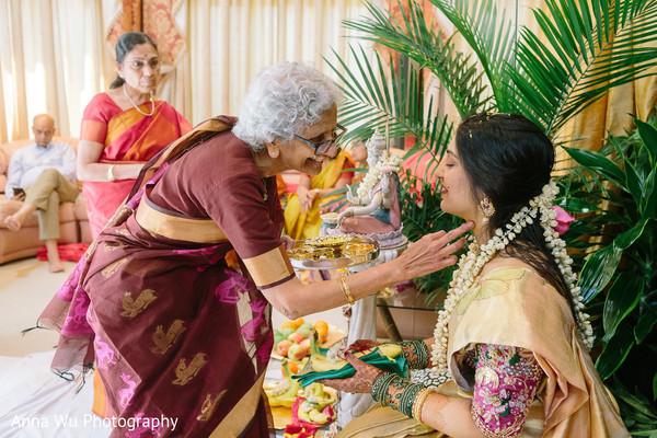 Maharani with relative at pre-wedding rituals.