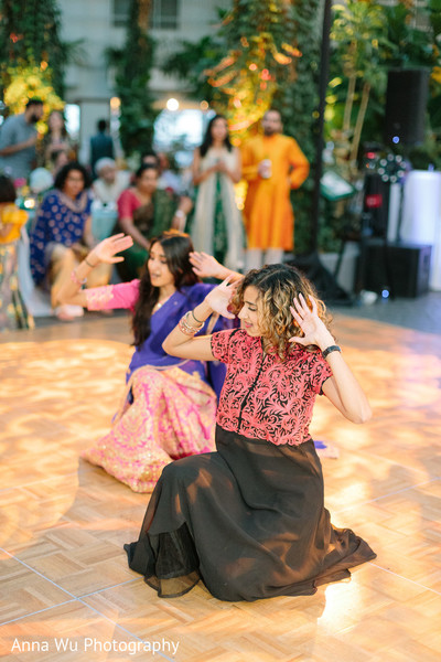 Indian bridesmaids at Sangeet dance.