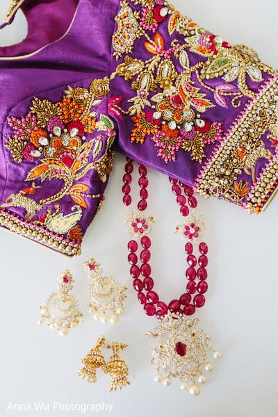 Indina bridal kundan earings, and open shir embroidery.