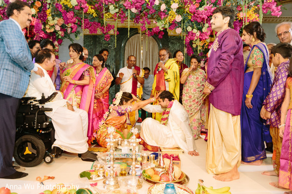 Indian couple at south indian wedding ceremony ritual.