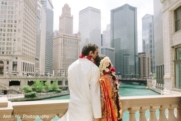 Outdoors Indian bride and groom photo session.