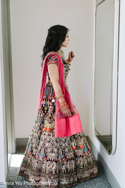 Maharani wearing her reception embroidered lehenga.