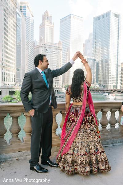 Indian groom admiring his bride.