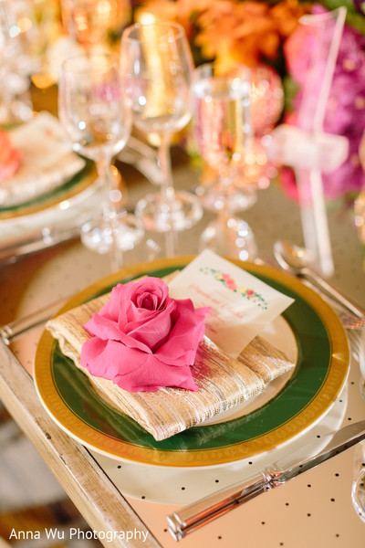 Golden and green indian wedding table plate.