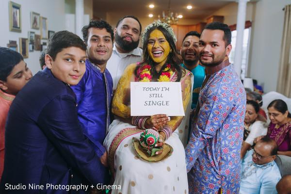 Indian bride at her haldi party.