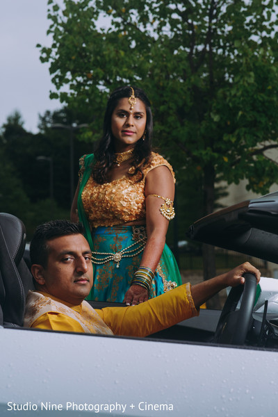 Maharani and raja posing for sangeet photo shoot.