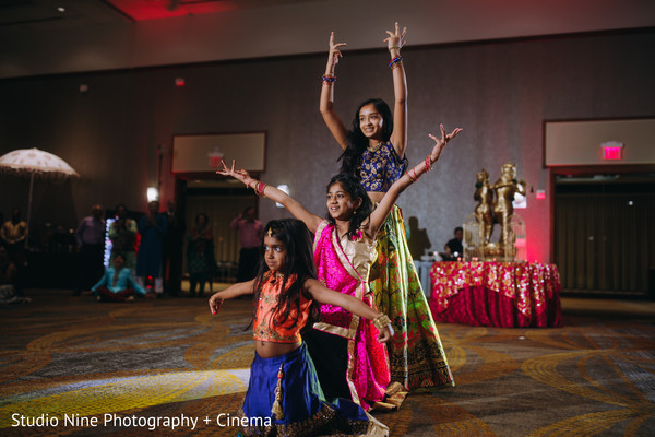 Indian little girls on a sangeet choreography.