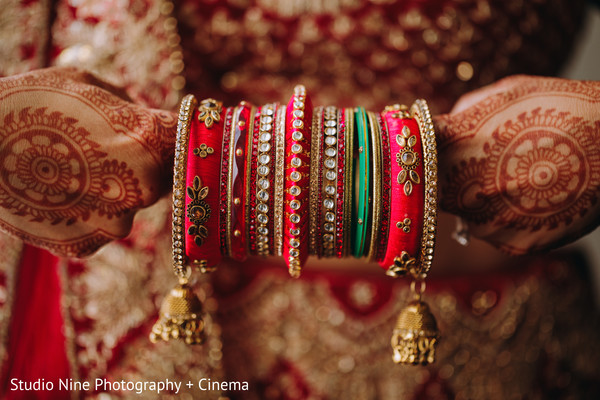 Red, golden and green maharani's bracelets.