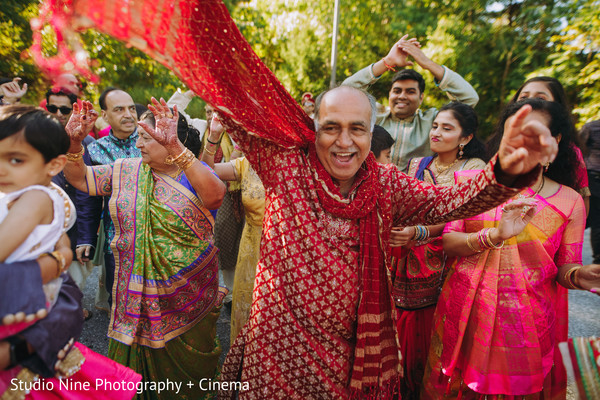 Indian pre-wedding baraat celebration capture.