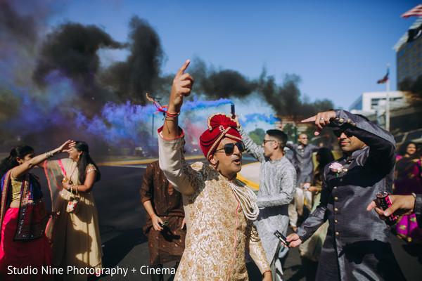 Colorful smog decoration for baraat celebration.