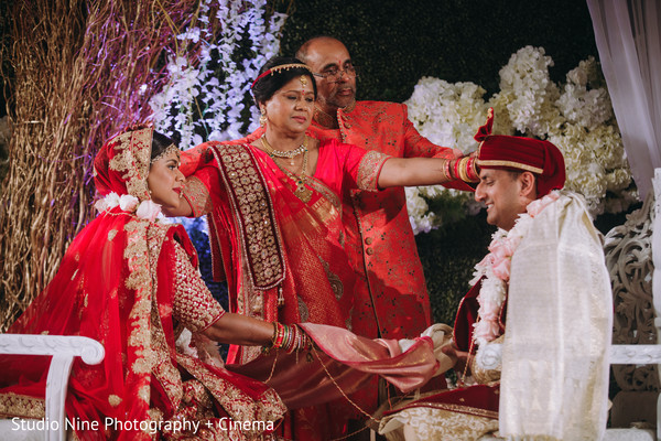 Maharani and raja at joint of hands ceremony ritual.