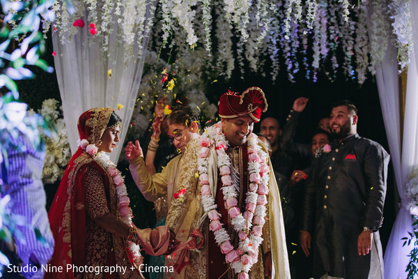 Indian bride and groom during the seven steps ritual.