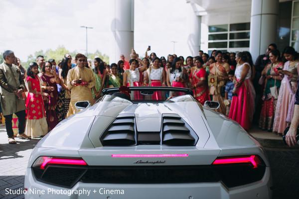 Indian wedding white Lamborghini.