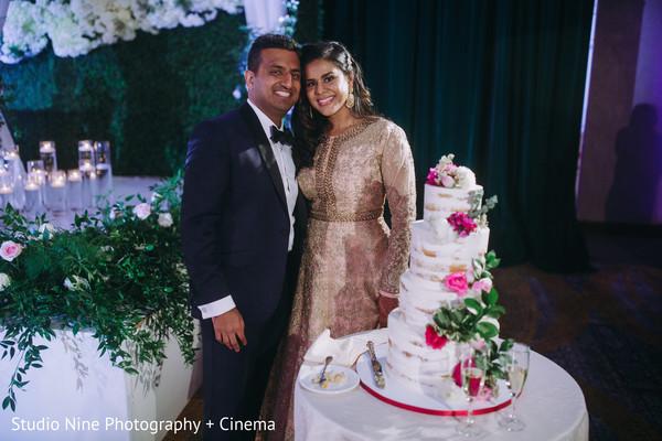 Indian wedding reception wedding cake.