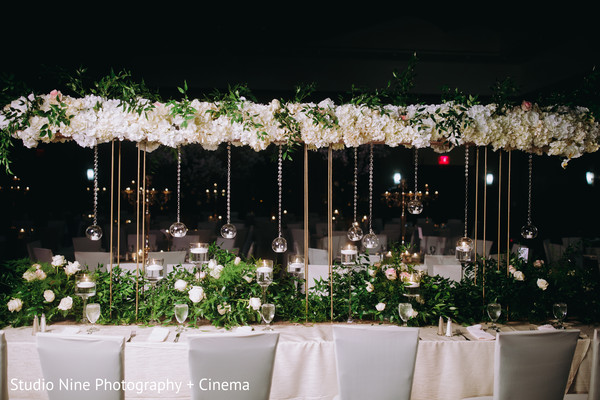 Indian wedding rectangle table centerpiece decorations.