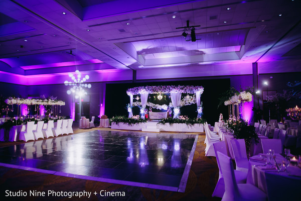 Indian wedding purple and white lights decorations.