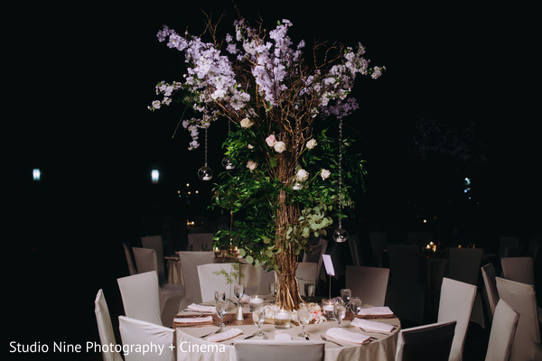 Indian wedding table centerpiece decoration.