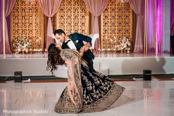 Romantic idian bride and groom reception dance.