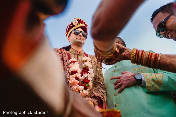 Indian groom at his baraat procession.