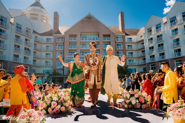 Raja's entrance at his Indian wedding ceremony.