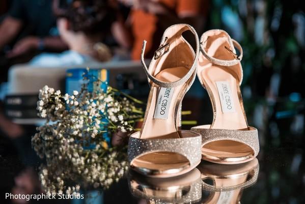 Indain bridal silver wedding Jimmy Choo shoes.